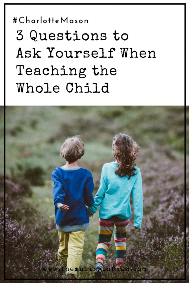 3 Questions to Ask Yourself When Teaching the Whole Child - If you are striving to treat and teach of your little persons who are members of your homeschool, then these three questions may help you remember to stay on track.