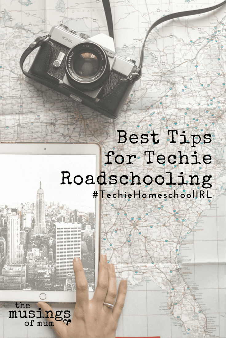 Best Tips for Techie Roadschooling - Technologyhas been a major player in our homeschool from the beginning, and though we are passionate about physical books and curriculum we can hold in our hands; on this particular trip, technology has replaced every bit of the traditional curriculum we use on days we school at home.